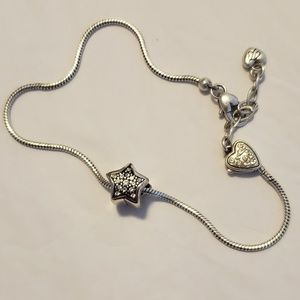 Brighton Heart Clasp Adjustable Anklet with Charm